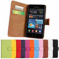Luxury Genuine Leather Flip Stand Case Wallet Cover For Samsung Galaxy S2 i9100