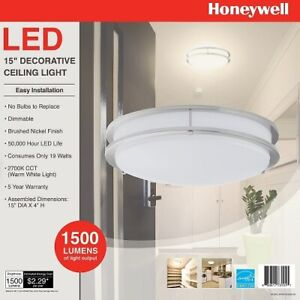 """Honeywell LED 15"""" Decorative Ceiling Light Brushed Nickel Dimmable 1500 Lumens"""