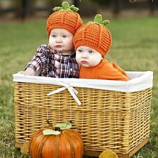 1pcs Baby Boy Girl Crochet Knit Halloween Pumpkin Beanie Hat