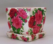 Made To Order, Handmade Ceramic Decoupage Square Flower Pot, Pink Roses, 4""