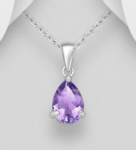 925 Sterling Silver Solitaire Pendant Faceted Amethyst Gemstone Dainty Design