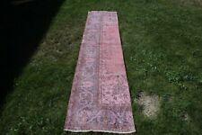 2x10 ft. Pink Runner Rug, Turkish Handmade Runner, Handwoven Vintage Hallway Rug