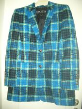 LUXUS COUNTRY LANDHAUS ESCADA BOUCLE Janker JACKE Karo royal blau 38/40 tweed
