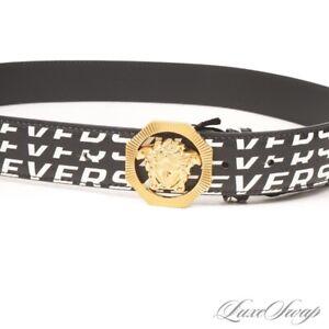 NWT Versace Made Italy Black White Leather Newspaper Print Gold Medusa Belt 42