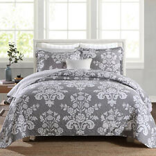 100%Cotton Floral Bedspread Quilted Coverlet King Size Bed 3pcs New Gray & White