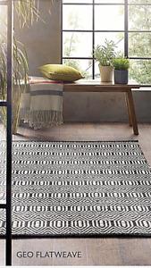 Origin Geo Flat Weave Hand Woven Moroccan Inspired Rug Black/Ivory 3 Sizes