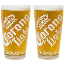 Corona Light Cerveza Pint Glass 16 oz Diagonal Font - Set of Two (2) Glasses New