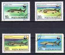 Poissons Roumanie (10) série complète de 4 timbres oblitérés