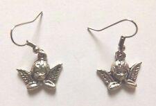 Boucles d'oreilles argentées ange 19x16mm
