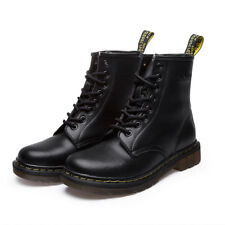 Women's Martin Combat Leather Boots Lace-Up Casual Antiskid Round Toe Low Heel