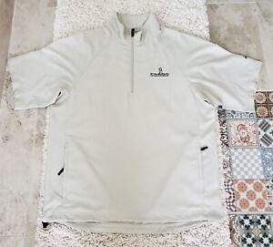 Adidas Climaproof Mens Size M Golf 1/4 Zip Pullover Wind Shirt Jacket Light Beig