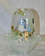 Fenton, Fairy Light, French Opalescent Glass, Iridized, Hand Decorated.