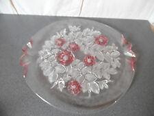 Grand plat en verre fleurs en relief style art déco