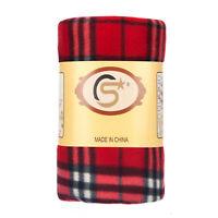Tartan Checked Large Polar Fleece Warm Soft Blanket Sofa Bed Throws - Red