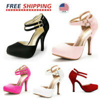 Women's Classic Mary Jane Double Ankle Strap Almond Toe High Heel Pumps New