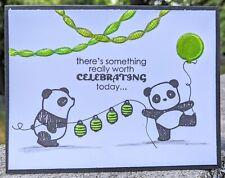Panda Handmade Greeting Card, birthday humor party celebrate funny green, senior