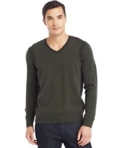 Kenneth Cole Men's Sweater Sz XXL Forest Green V-Neck Cotton Pullover  SR4H7509