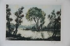 c1900 Jean Rene Ligeron Artist Signed Engraving Art Print Lake Figures France
