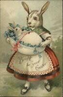 Easter Fantasy Dressed Rabbit Mother & Baby - Clapsaddle? c1910 Postcard