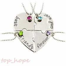New Crystal Best Friends Forever And Ever Puzzle Heart Pendant Necklace 4Pcs/Set