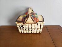 Vintage McCoy Picnic Basket with Fruit Cookie Jar 1962