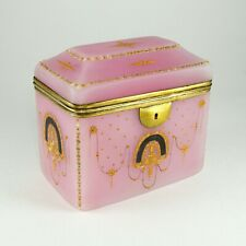 Antique French Pink Opaline Glass Raised Enamel Jewelry Box, Casket