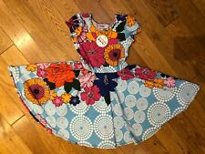NWT Dot Dot Smile Cup Sleeve Twirl Dress Summer Knit BLUE ORANGE Floral Print