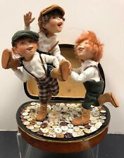 """10"""" Artist Made Resin? Button Box Kids W/ 3 Boys Playing Signed Hal Payne #S"""