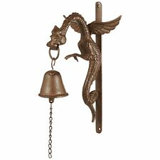 Wing Dragon Gothic Iron Door Bell Medieval Metal Wall Ringer Sculpture Decor New