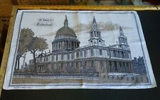 Vtg tea towel Irish Cabins linens St. Pauls Cathedral London England