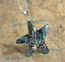 Solid .925 Sterling Silver Abalone Shell STARFISH Beach Pendant Chain Necklace