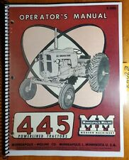 Minneapolis Moline 445 Powerlined Tractor Owners Operators Manual S 205