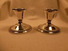ROGERS VINTAGE STERLING SILVER 925 WEIGHTED CANDLESTICKS EMBOSSED BASE & BOBECHE