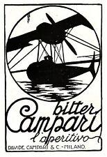 PUBBLICITA' 1927 BITTER CAMPARI DRINK BAR IDROVOLANTE AEREO UGO MOCHI MILANO