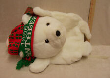 Large White Plush Bear Back Pack w/ Tail Hat Scarf Paws 2 Zippers & Straps Lined