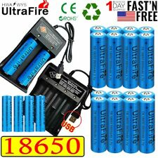 20X UltraFire 18650 Batteries 3.7V Li-ion Rechargeable Battery USB Chargers US