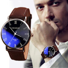 Casual Luxury Stainless steel Leather Band Analog Mens Watch Quartz Wrist Watch