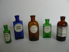 5 Different Vintage Coloured Glass Apothecary Bottles (G2)