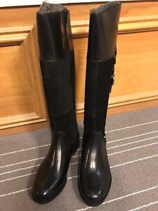 NIB Rockport Women's Tristina Buckle Riding Tall Boots Black Leather Sz 6W