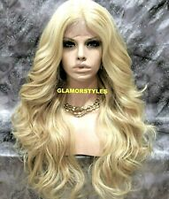 Human Hair Blend Lace Front Full Wig Long Wavy Blonde Mix Baby Hair Center Part