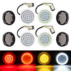 "2"" LED 1157 Front and Rear Turn Signal Lights Inserts +Smoke Lens Fit For Harley"