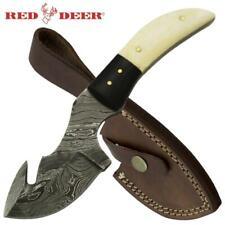 Custom Handmade Damascus Steel Guthook Knife White Buffalo Bone & Horn Handle