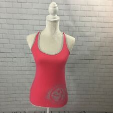 Athletic Activewear Workout Pink and Grey Graphic Zumba Tank Top size Medium