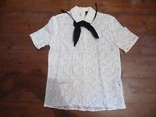 THE KOOPLES SHEER  IVORY LACE BLOUSE & BLACK TIE, XS, 6-8
