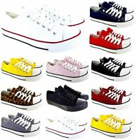 3448583366 LADIES WOMENS FLAT LACE UP GIRLS PUMPS CANVAS PLIMSOLLS TRAINERS SHOES SIZE  3-8