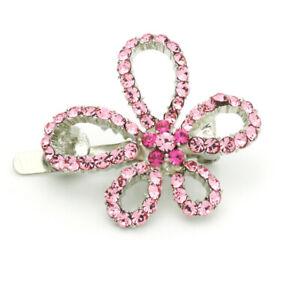 Hand Made Hair Jewelry Picasso swarovski crystal Flower Barrette Pink Rhinestone