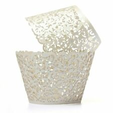 12X Filigree Vine Cake Cupcake Wrappers Wraps Cases Ivory White AD