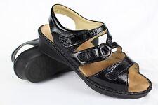Finn Comfort Women's Ankle Strap Sandals Size 7 UK 4.5 Black Patent # 9606907