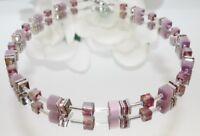 Würfelkette Halskette pastell violett Würfel Cat Eye Kristallglas Strass 507b