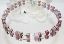 Halskette Würfel Collier Cube Cat Eye pastell violett Kristall Glas Strass 507b